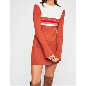 Free People Colorblock Swit Mini Dress Orange